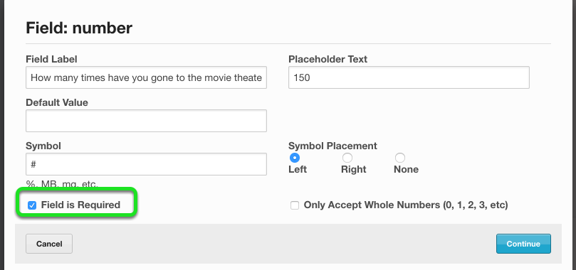 """To mark a number block as required, check the box next to """"Field is Required"""""""