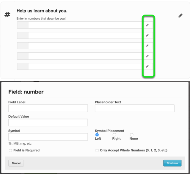 To modify individual number fields - click on the small pencil next to the text field