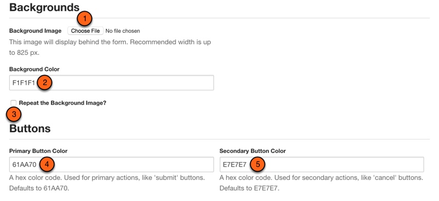 Choose a background & button colors