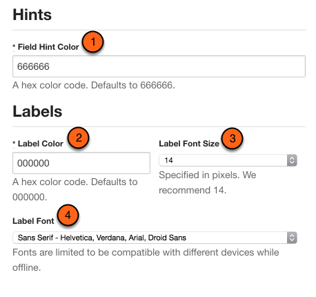 Customize field hints and labels