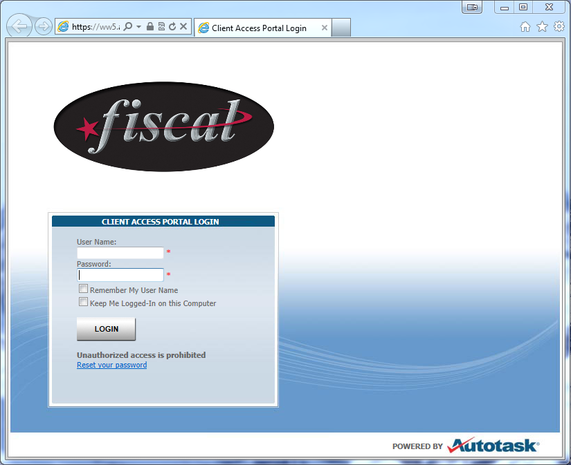 Browse to the Fiscal Systems Inc. Client Access Portal Login Page