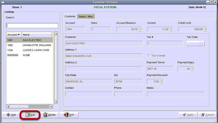 Customer File Setup
