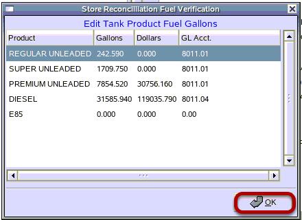 Store Reconciliation Fuel Verification