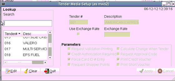 Tender Media Setup