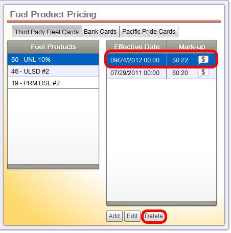 Delete Scheduled Price Change