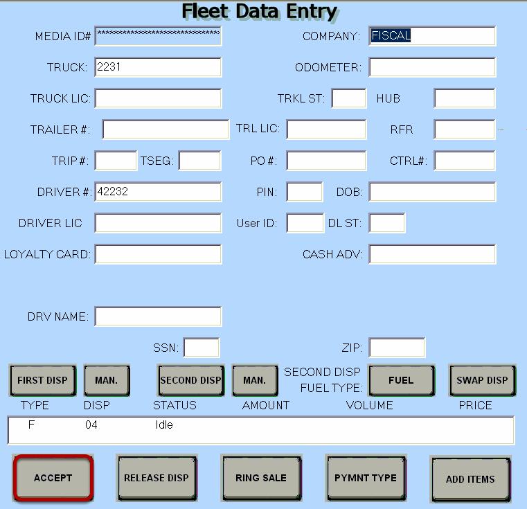 Fleet Data Entry
