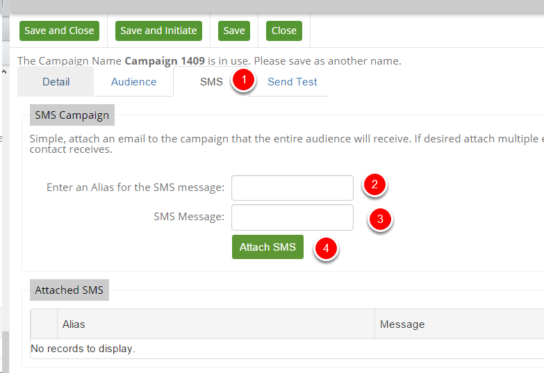 Creating an SMS Campaign - Attaching the SMS