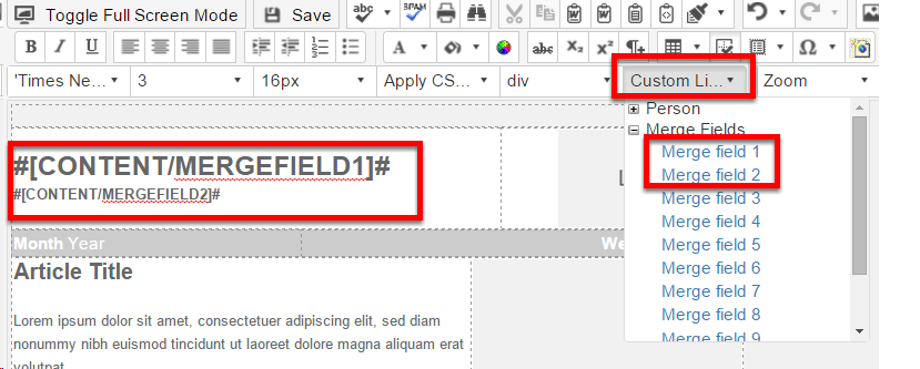 Campaign Merge fields in emails or Landing Zones
