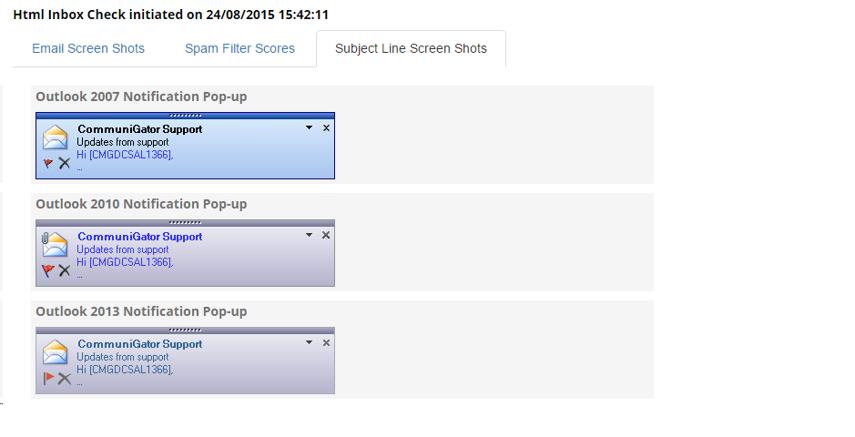 Subject Line Screen Shots