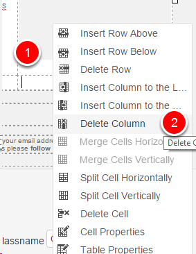 Right-click inside cell
