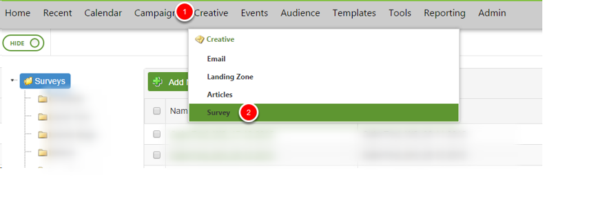 Select Survey option from the creative tab