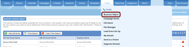 Navigate to Tools/Business Objects