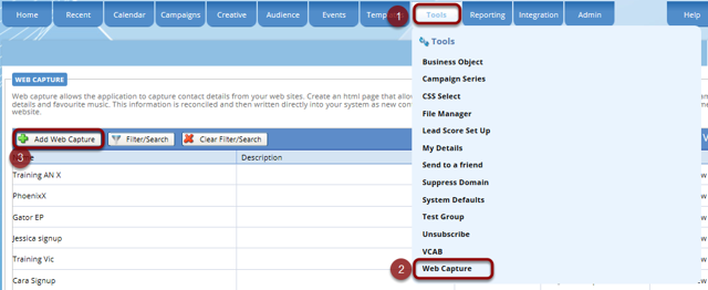 Creating a sign up form (Tools/Web Capture)
