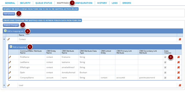 Mappings tab under integrations in Communigator