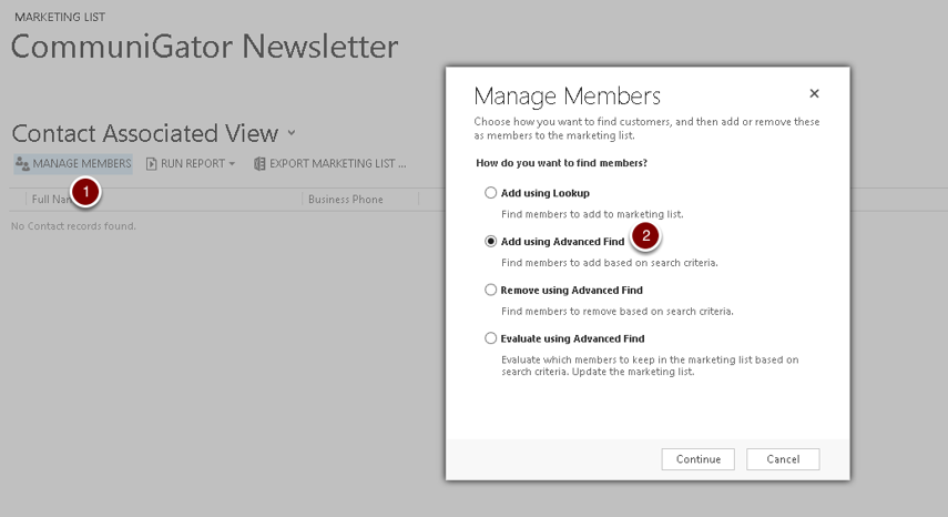 Manage Members Of The Marketing List