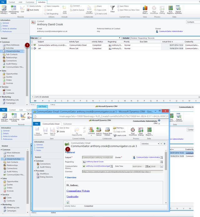Dynamics CRM Closed Activity Item of CommuniGator Emails
