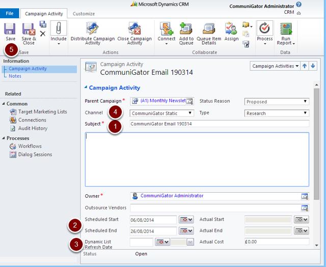 Microsoft Dynamics CRM Campaign Activity