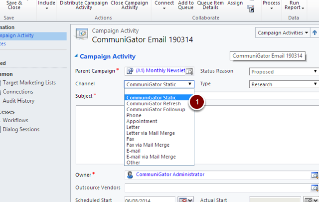 Dynamics CRM Campaign Activity- Channel Types