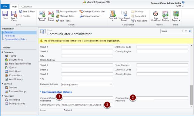 Microsoft Dynamics CRM User Record & CommuniGator Login Details
