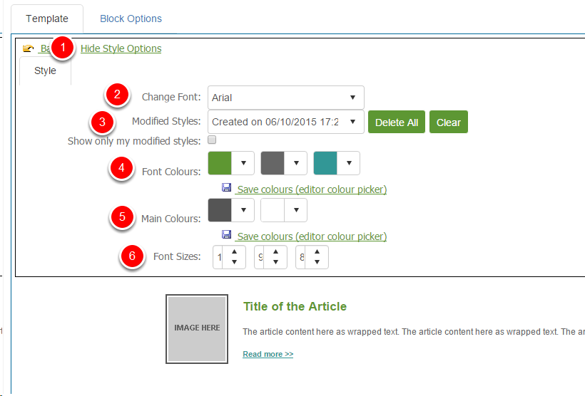 Changing the Article Block Style