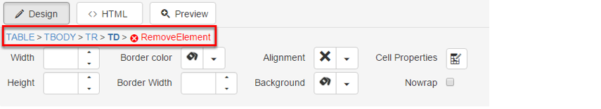 The breadcrumb is situated at the bottom of the editor.