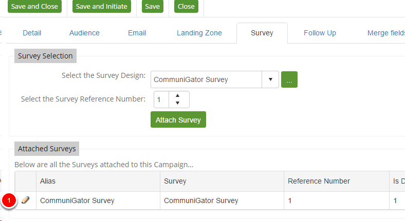 Attach the survey to your campaign