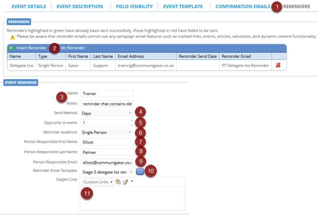 Reminder Email & Configuration