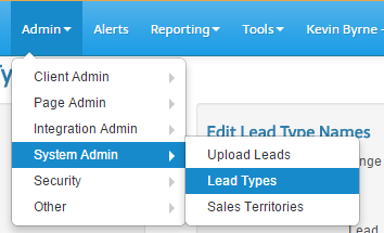Admin- System Admin- Lead Types