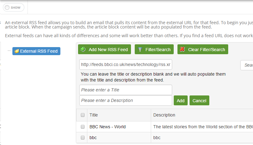 Add New RSS Feed Example