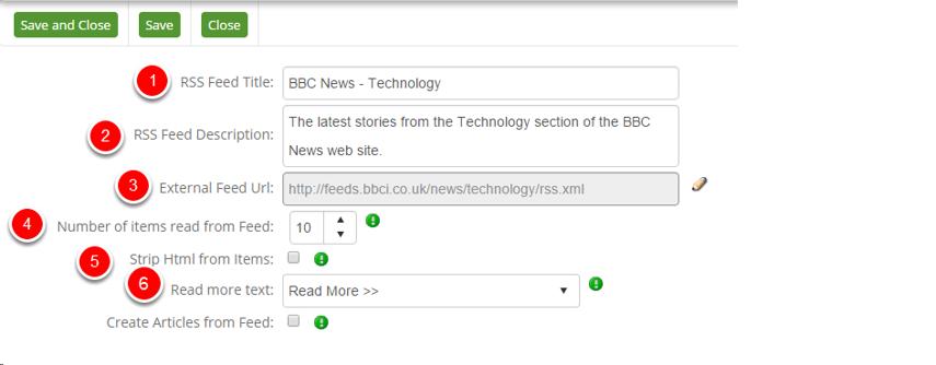 RSS External Edit Screen