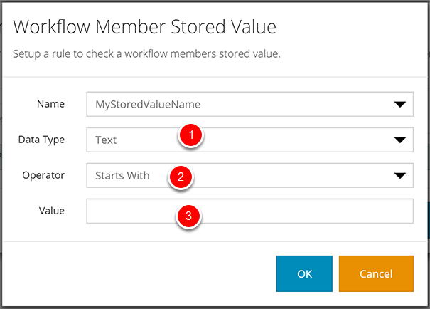 Workflow Member Stored Value for Text