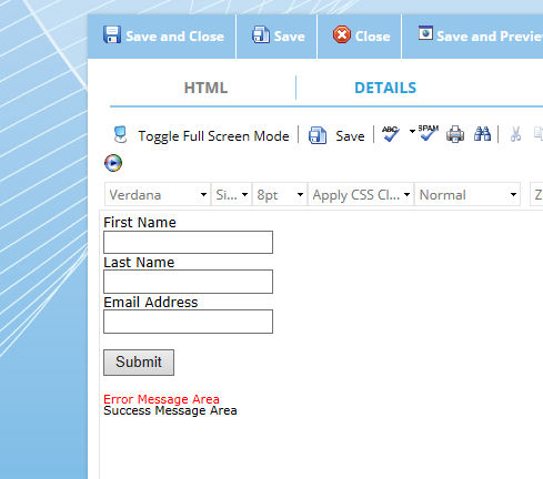 The finished web capture form