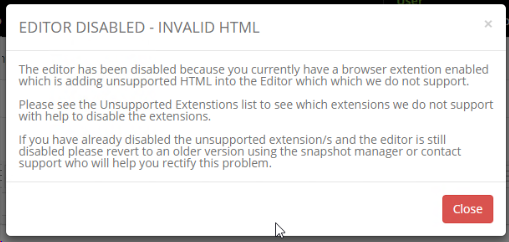 Editor Disabled Error