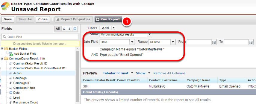 Running the report