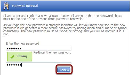 Password Reset Window
