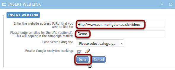 Type in the URL and add an Alias. Then click Insert