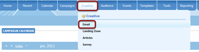 Hover on Creative and select Email