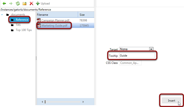 Select the Marketing Guide.pdf from the Reference folder and add a Tooltip alias. Click Insert