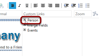 Click 'Custom Links' from the top menu and click on the + symbol next to Person