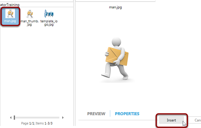 Select the 'man.jpg' from the _GatorTraining folder and click Insert to place the image into the Editor
