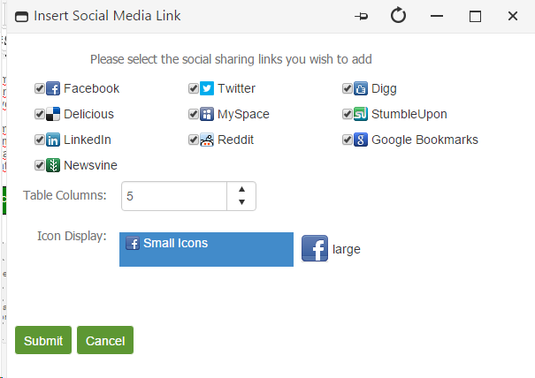 Inserting a Social Media Links
