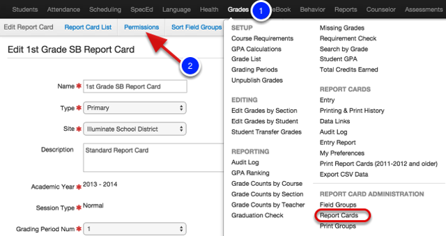 Sharing Report Cards and Field Groups