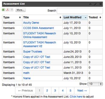 Assessment List