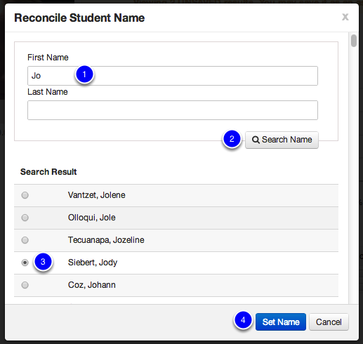 Reconcile Student Name