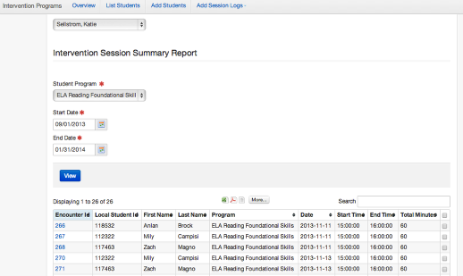 Intervention Session List Report