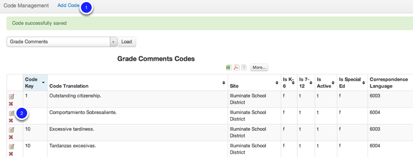 Grade Comment Codes Overview