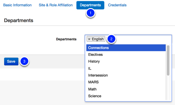 Add Department Affiliations