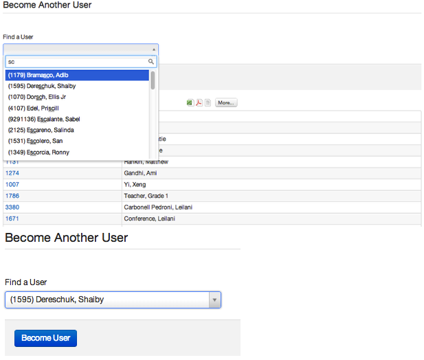 Option 1: Become Another User Search