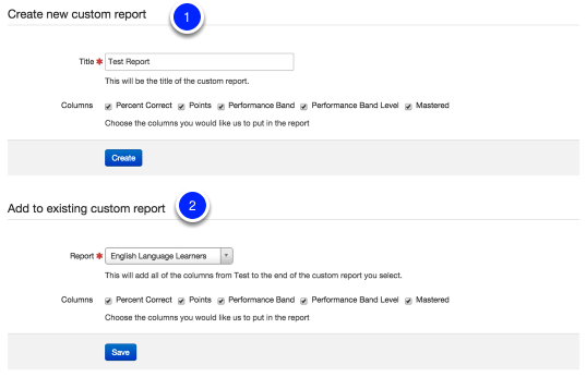 Custom Report Creation or Addition from an Assessment View