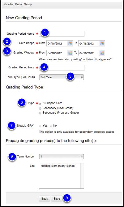 Create Grading Period